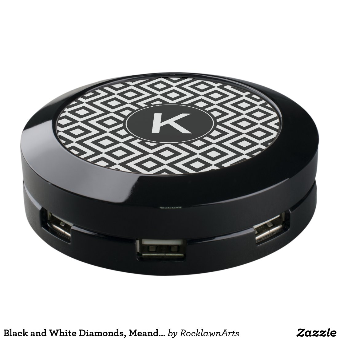 Black and White Diamonds, Meander, Custom Monogram USB Charging Station