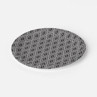 Black and White Diamonds Paper Plate