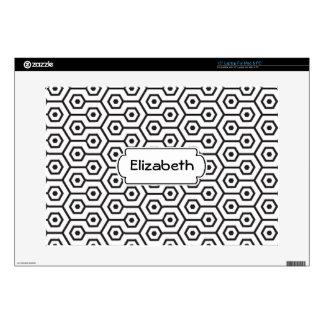 Black and White Diamonds Pattern Monogram Laptop S Laptop Decals