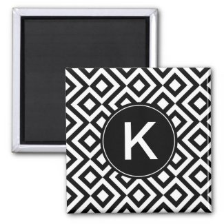 Black and White Diamonds, Zigzags, Custom Initial Magnet