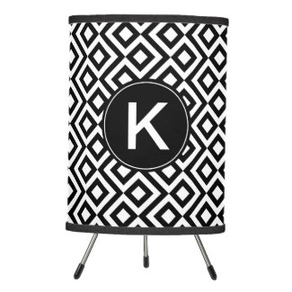Black and White Diamonds, Zigzags, Custom Monogram Tripod Lamp