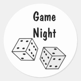 Black and White Dice Bunco Game Personalized Stick Classic Round Sticker