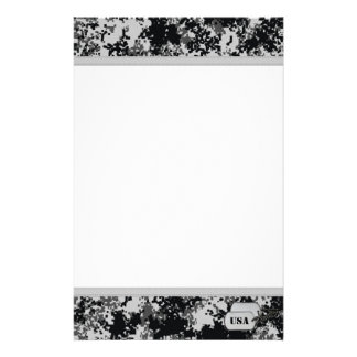 Black and White Digital Camo Personalized Stationery