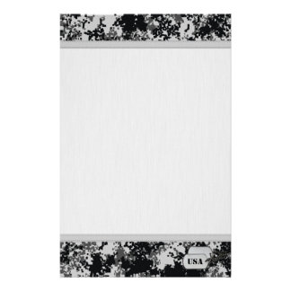 Black and White Digital Camo w/ Grainy Background Stationery Paper