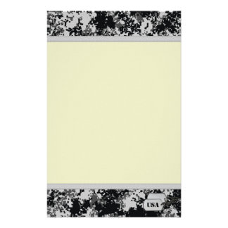 Black and White Digital Camo with Tan Background Stationery Paper