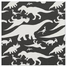 Black and White Dinosaur Pattern Fabric