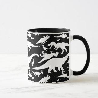 Black and White Dinosaur Pattern Mug
