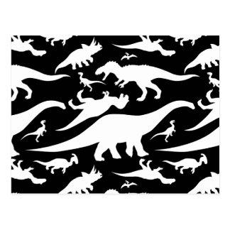 Black and White Dinosaur Pattern Postcard