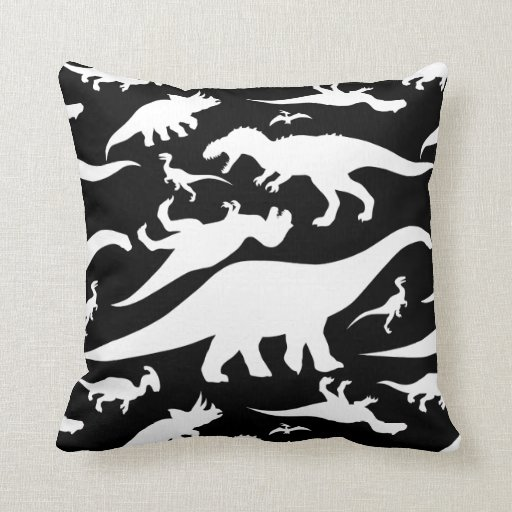 Black And White Patterned Throw Pillows : Black and White Dinosaur Pattern Throw Pillow Zazzle