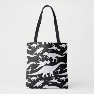 Black and White Dinosaur Pattern Tote Bag