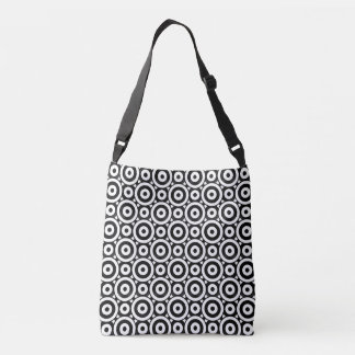 Black and white Disc Patterned Crossbody Bag