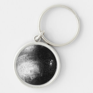 black and white disco/mirror ball keychain