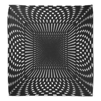 Black and White Distorted Checkered Pattern Bandana
