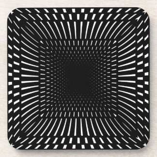 Black and White Distorted Checkered Pattern Coasters
