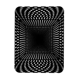 Black and White Distorted Checkered Pattern Magnet