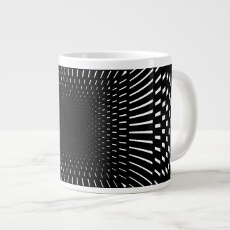 Black and White Distorted Checkered Pattern 20 Oz Large Ceramic Coffee Mug