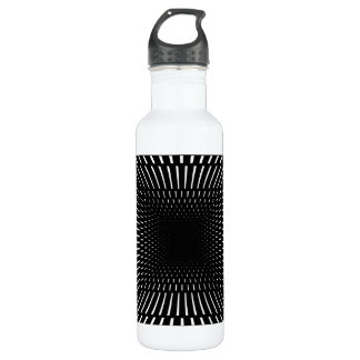 Black and White Distorted Checkered Pattern Water Bottle