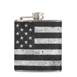 Black and White Distressed American flag Hip Flask