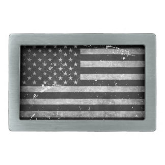 Black and White Distressed American Flag Rectangular Belt Buckle