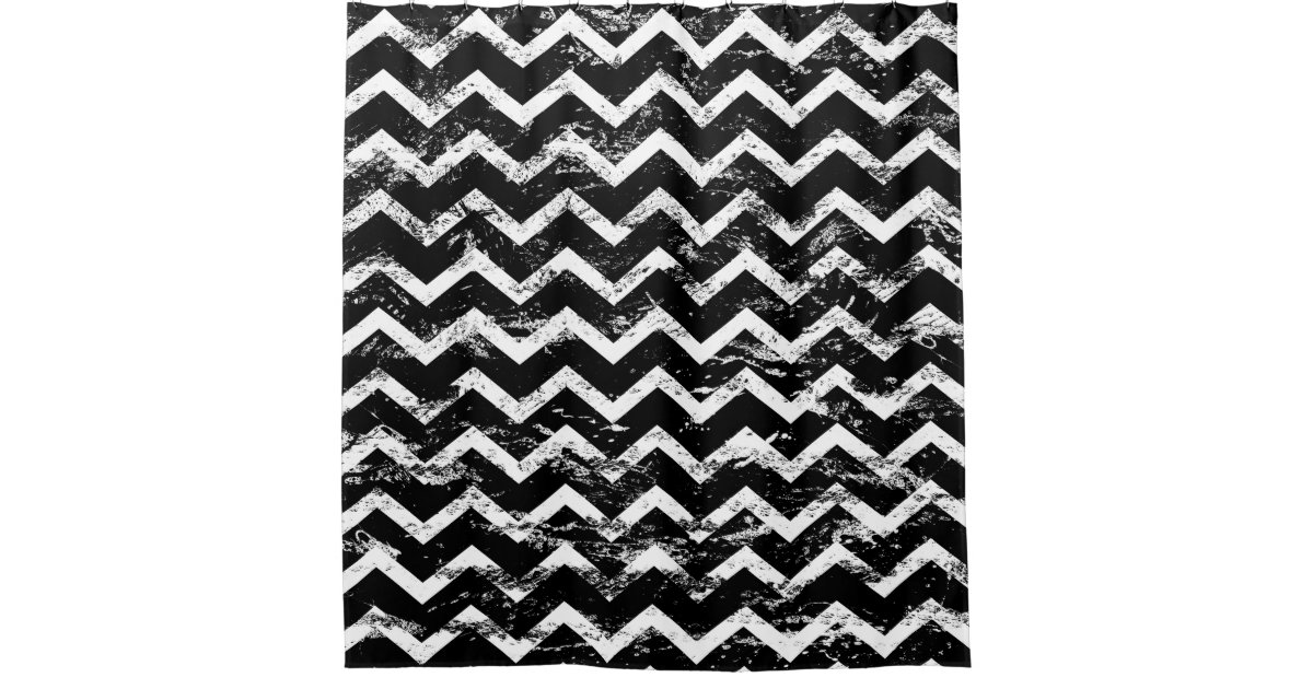 black and white distressed chevron shower curtain