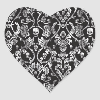 Black and white distressed skull damask. heart sticker