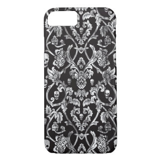 Black and white distressed skull damask pattern. iPhone 7 case