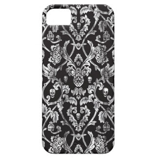 Black and white distressed skull damask pattern. iPhone SE/5/5s case