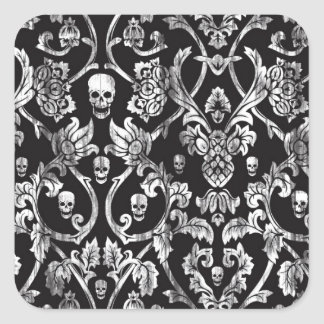 Black and white distressed skull damask. square sticker