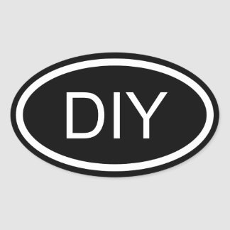 Black and White DIY Euro Style Oval Sticker