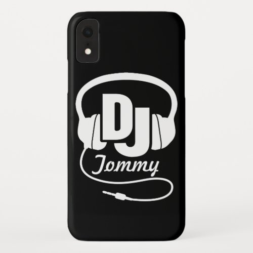 Black and white DJ name headphone iphone case