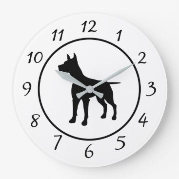 Professional Business Black and White Dog Clock