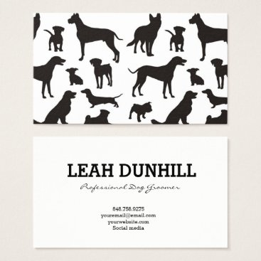 Professional Business Black and White Dog Pattern Business Card