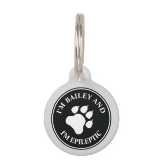 Black And White Dog Paw With Epileptic Text Pet Tag