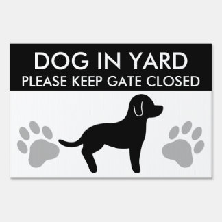 Black And White Dog Silhouette Keep Gate Closed Lawn Sign