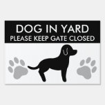 Black And White Dog Silhouette Keep Gate Closed Sign