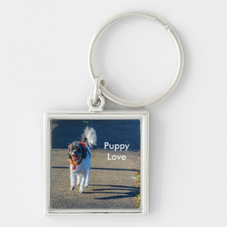 Black and White Dog Walking Keychain