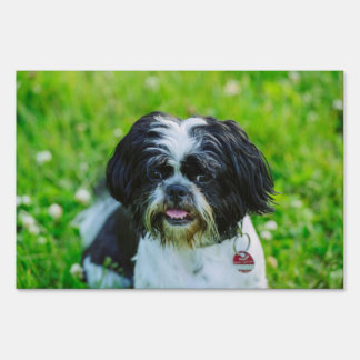Black and white dog lawn sign