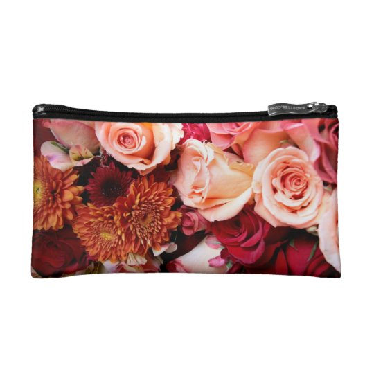 Black and White Dogwood Flower Cosmetic Bag