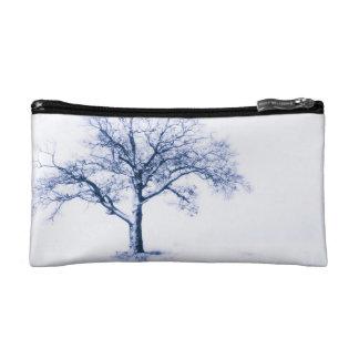 Black and White Dogwood Flower Makeup Bag
