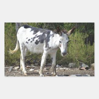 Black and white donkey rectangular sticker