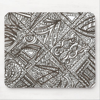Black And White Doodle - Abstract Ink Drawing Mouse Pad