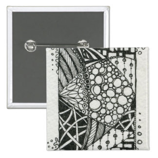 Black and White Doodle ACEO Art 2 Inch Square Button