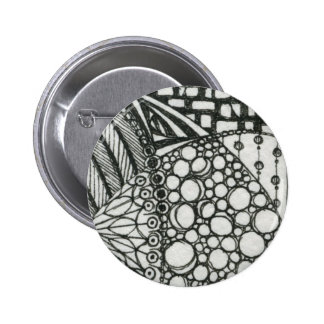 Black and White Doodle ACEO Art 2 Inch Round Button