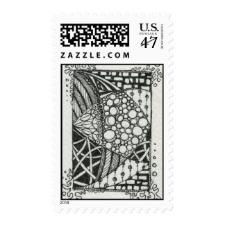 Black and White Doodle ACEO Art Postage