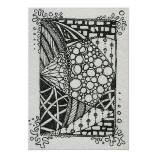 Black and White Doodle ACEO Art Poster