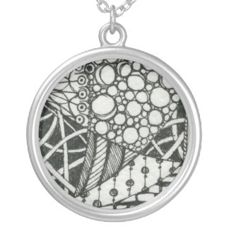 Black and White Doodle ACEO Art Round Pendant Necklace