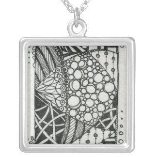 Black and White Doodle ACEO Art Square Pendant Necklace