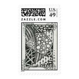 Black and White Doodle ACEO Art Stamp
