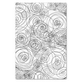 """Black and White Doodle Art Tissue Paper 10"""" X 15"""" Tissue Paper"""