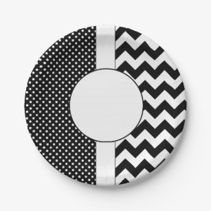 Black and White dots and chevron paper plates  sc 1 st  Zazzle & Black And White Chevron Plates   Zazzle